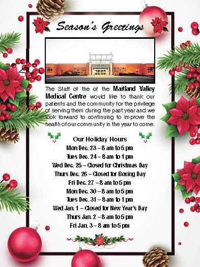 Season's Greetings - Maitland Valley Holiday Hours